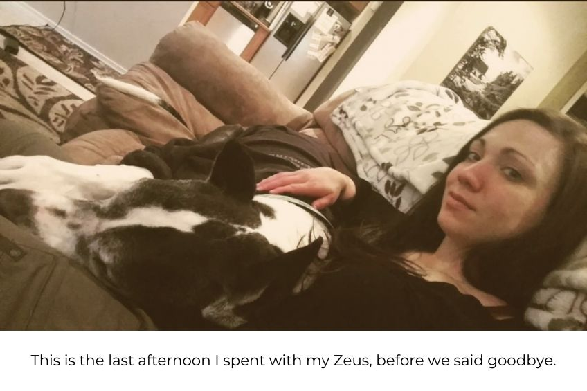 dr. paige wallace with her great dane zeus